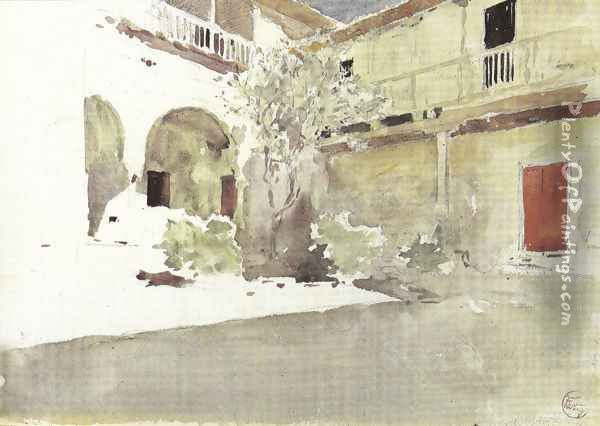 The courtyard of the house of Pilate, Seville Oil Painting - Mariano Jose Maria Bernardo Fortuny y Carbo