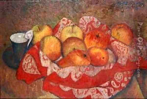 Apples and Pears on a Red Cloth Oil Painting - Mark Gertler