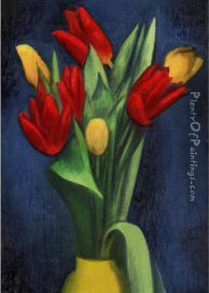 Flowers Oil Painting - Mark Gertler