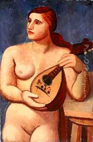 Nude with Mandolin Oil Painting - Mark Gertler