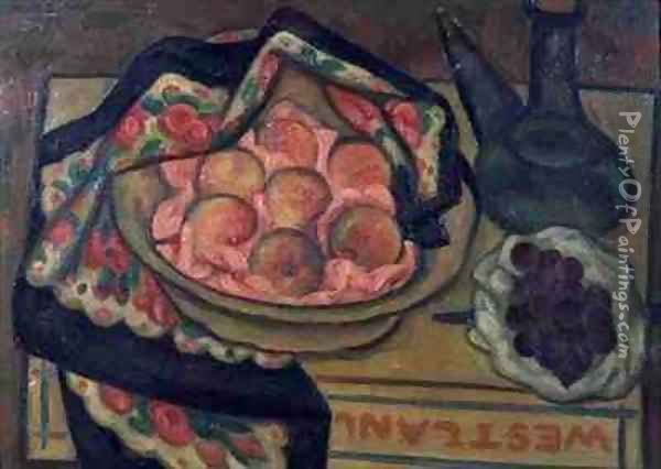 Peaches and a Green Bottle Oil Painting - Mark Gertler