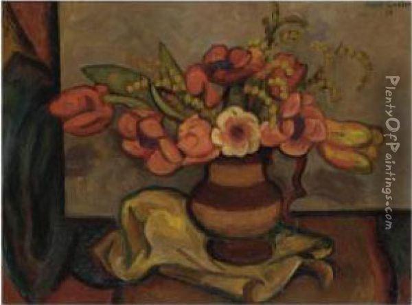 Tulips And Mimosa Oil Painting - Mark Gertler