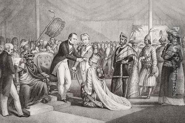 Grand Durbar at Cawnpore after the Suppression of the Sepoy Revolt, 1858, from `Illustrations of English and Scottish History' Volume II Oil Painting - Marshall Claxton