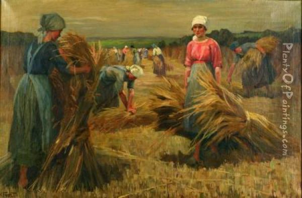 Gathering Grain Oil Painting - Martin Frost