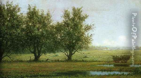 Landscape With Hay Wagon Oil Painting - Martin Johnson Heade