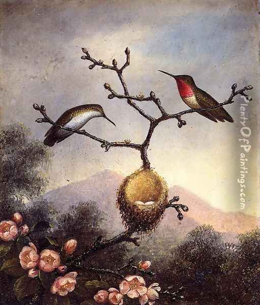 Ruby Throats With Apple Blossoms Oil Painting - Martin Johnson Heade