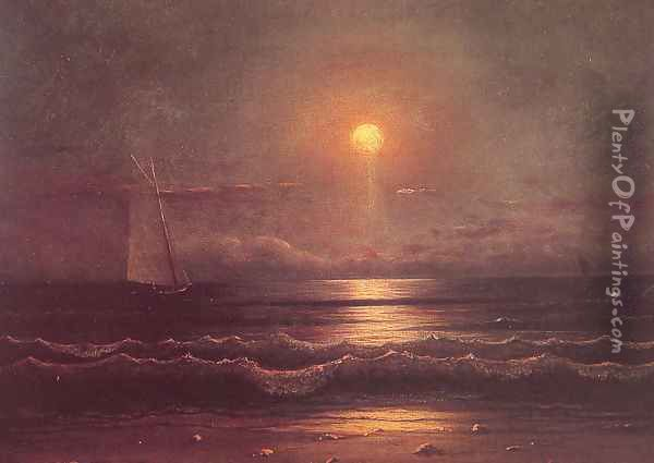 Sailing By Moonlight Oil Painting - Martin Johnson Heade