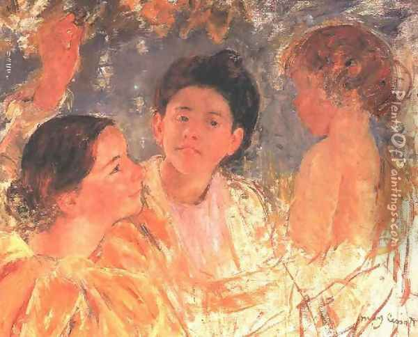 Two Young Girls With A Child Oil Painting - Mary Cassatt