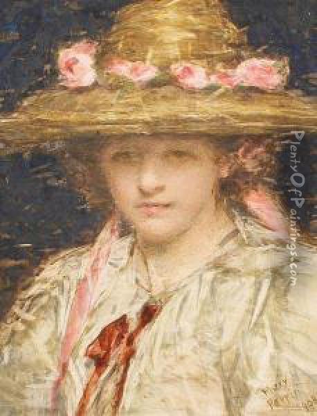 Girl In A Hat Decorated With A Band Of Pinkroses Oil Painting - Mary Perrin