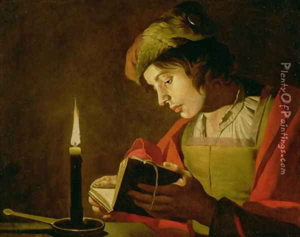 Young Man Reading by Candle Light Oil Painting - Matthias Stomer