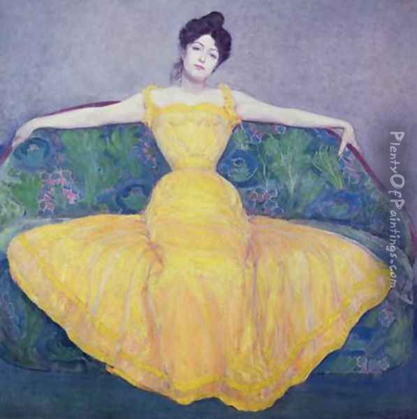 Lady in a Yellow Dress Oil Painting - Max Kurzweil