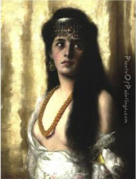 An Oriental Beauty Oil Painting - Max Schultze