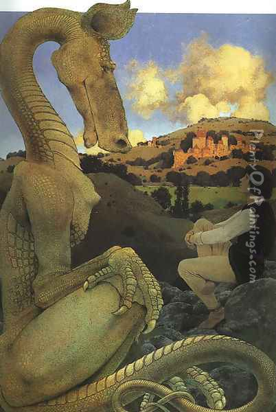 The Reluctant Dragon Oil Painting - Maxfield Parrish