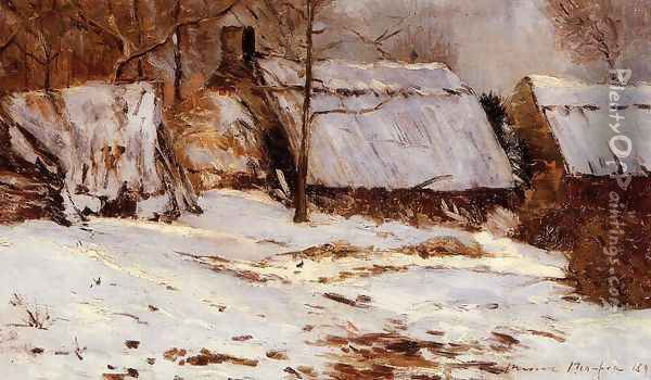 Cottages in the Snow Oil Painting - Maxime Maufra