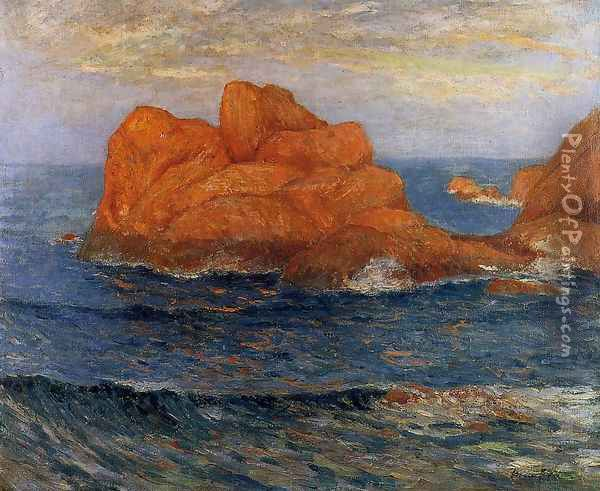 The Red Rocks at Belle Ile, Finistere Oil Painting - Maxime Maufra
