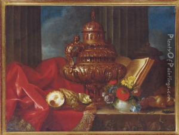 Still Life With A Silver Vessel, Flowers And Shells On A Table Oil Painting - Meiffren (Ephren) Conte (Leconte)
