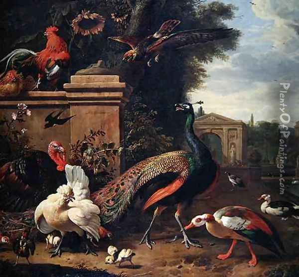 A Peacock a Hawk and Various Fowl and Ducks in a Park Oil Painting - Melchior de Hondecoeter