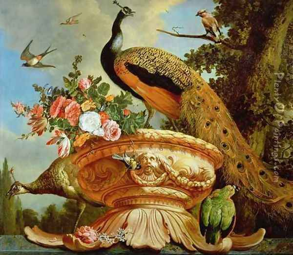 A Peacock on a Decorative Urn Oil Painting - Melchior de Hondecoeter