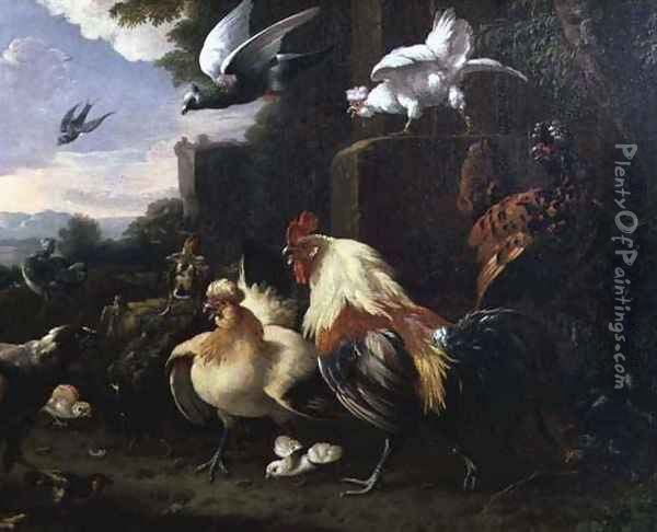 A cockerel and other fowl in a landscape Oil Painting - Melchior de Hondecoeter