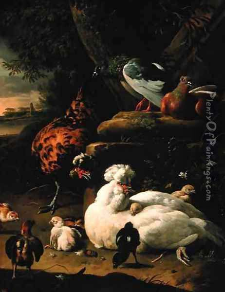 A hen with chicks a rooster and pigeons in a landscape Oil Painting - Melchior de Hondecoeter