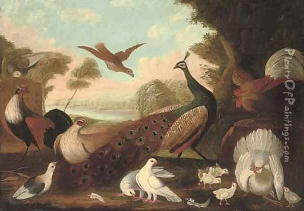 A peacock, a cockeral, a hen and her chicks, a grouse and other foul in a wooded river landscape Oil Painting - Melchior de Hondecoeter