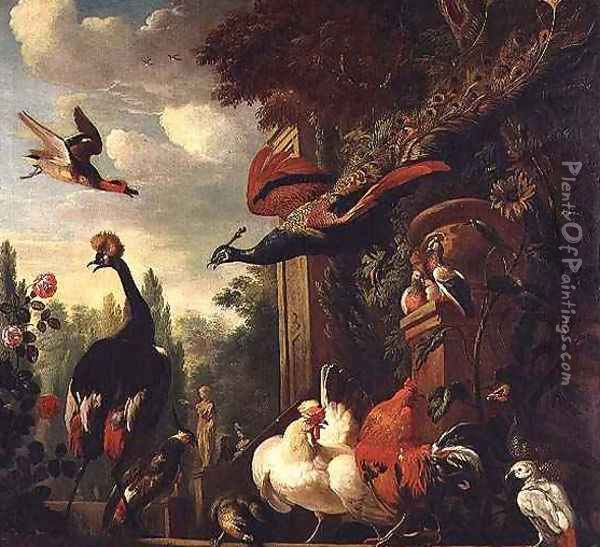 A peacock peahen and other exotic birds and poultry on a Terrace Oil Painting - Melchior de Hondecoeter