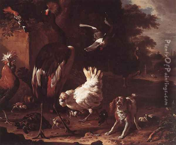 Birds and a Spaniel in a Garden Oil Painting - Melchior de Hondecoeter