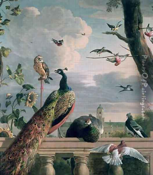 Palace of Amsterdam with Exotic Birds Oil Painting - Melchior de Hondecoeter