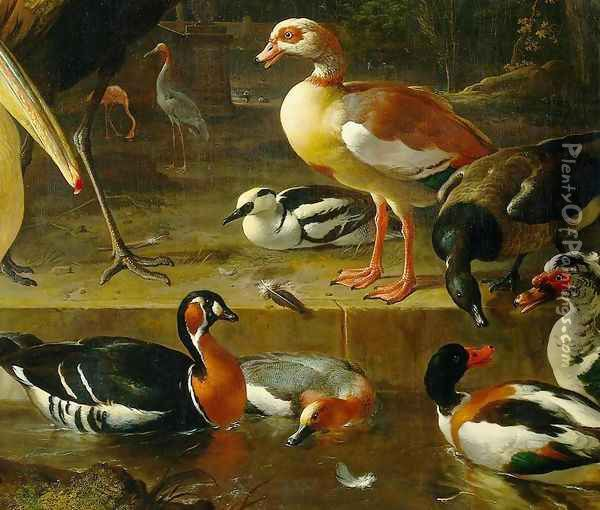 The Floating Feather [detail #1] Oil Painting - Melchior de Hondecoeter