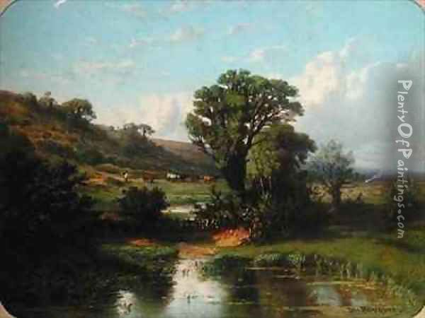 Landscape with a Herd of Cows Oil Painting - Michel Bouquet