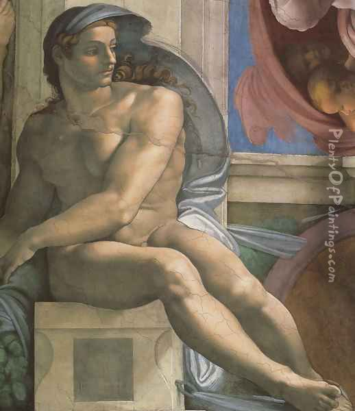 Ceiling of the Sistine Chapel: Ignudi, next to Separation of Land and the Persian Sybil [left] Oil Painting - Michelangelo Buonarroti