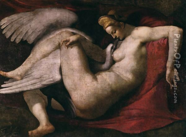Leda and the Swan 2 Oil Painting - Michelangelo Buonarroti