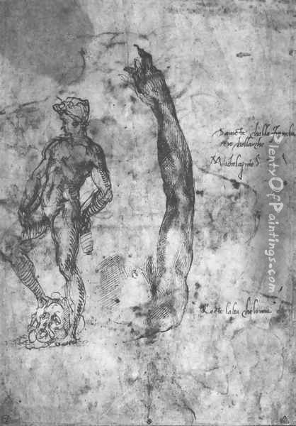 Study For An Arm Of The Marble David And The Figure Of The Bronze David Oil Painting - Michelangelo Buonarroti