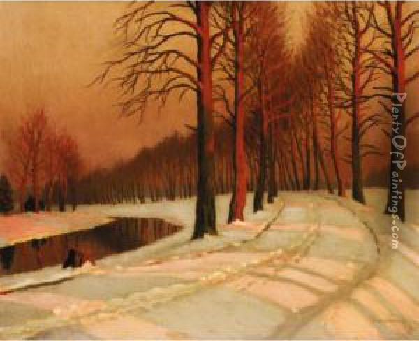 Winter Avenue Oil Painting - Mikhail Markianovich Germanshev