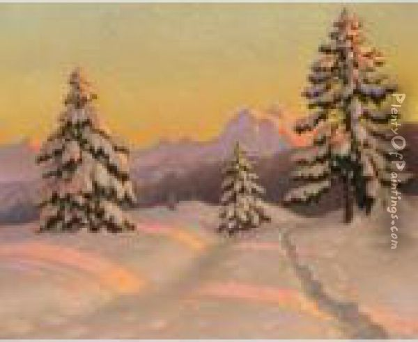 Winter Sun Oil Painting - Mikhail Markianovich Germanshev