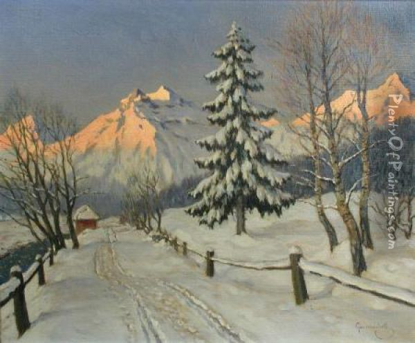 Winter Sunset Oil Painting - Mikhail Markianovich Germanshev