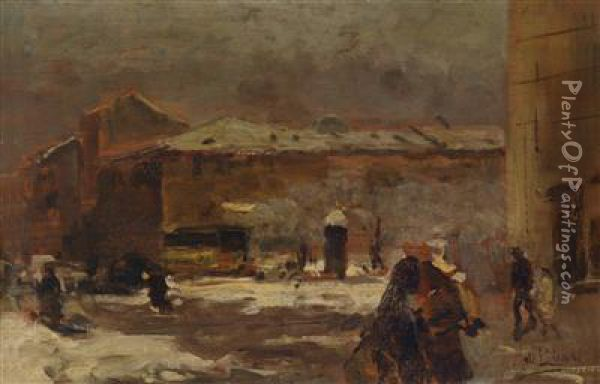 Street Scene In Winter Oil Painting - Mose Bianchi