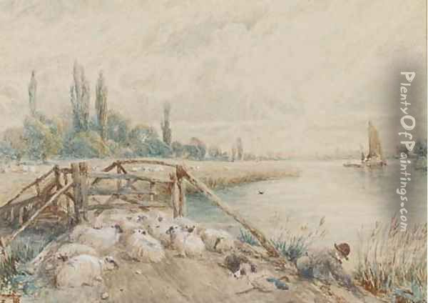 A young shepherd with his flock on a riverbank Oil Painting - Myles Birket Foster