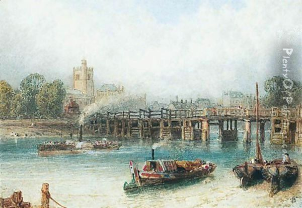 Boats On The Thames At Putney Bridge Oil Painting - Myles Birket Foster