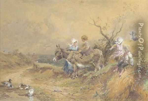 Children with a donkey beside a duck pond Oil Painting - Myles Birket Foster