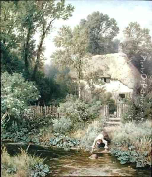 Fetching Water Oil Painting - Myles Birket Foster