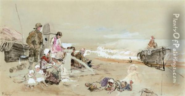 Figures Waiting On The Shore At Hastings Oil Painting - Myles Birket Foster
