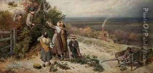 Holly Gatherers Oil Painting - Myles Birket Foster