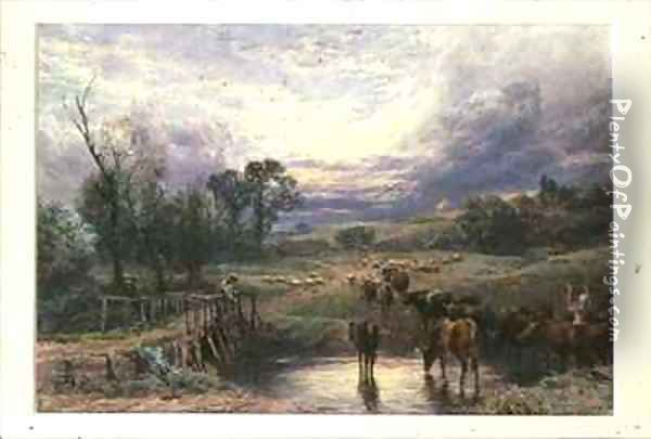 Landscape with Cattle and Bridge Oil Painting - Myles Birket Foster