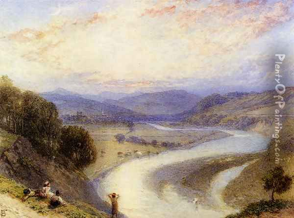 Melrose Abbey From The Banks Of The Tweed Oil Painting - Myles Birket Foster