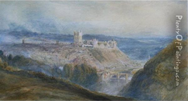 Richmond Castle, Yorkshire Oil Painting - Myles Birket Foster