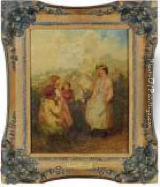 Rustic Entertainment Oil Painting - Myles Birket Foster