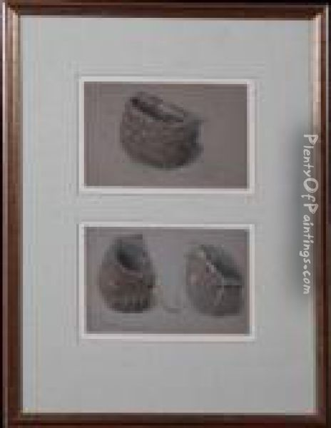 Studies Of Cullercoats Fisher Baskets Oil Painting - Myles Birket Foster