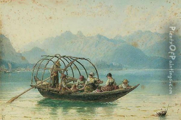 The Ferry Boat, Lake Como Oil Painting - Myles Birket Foster
