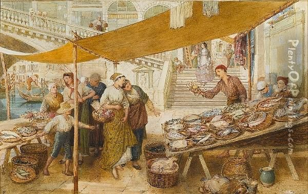 The Fish Market On The Steps Of The Rialto Bridge, Venice Oil Painting - Myles Birket Foster